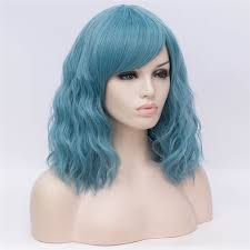 MSIWIGS <b>Synthetic Short Wigs for</b> Women Curly Hair Ashy Blue Wig ...