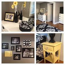 yellow and gray bedroom: bedroom transformation black yellow gray white