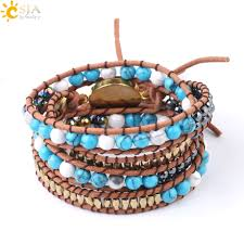CSJA <b>Boho</b> Handmade Weave <b>Bracelet</b> Leather Wrap Multilayer ...
