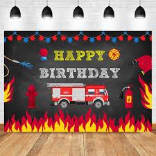 Firetruck Birthday Party Backdrop Fireman Fire Truck Firefighter ...