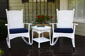 white wicker patio chairs coral coast white resin wicker rocking porch chair with dark blue