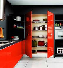 modular kitchen colors: astonishing l shape modern astonishing l shape modern modular kitchen orange color kitchen cabinets grey color granite countertops built in stoves built in oven black wall paint color white ceramics floor wall mounted shelves x