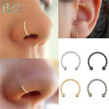 <b>BOAKO</b> New fashion <b>Steel</b> material twist Horseshoe Bar Lip nose ...