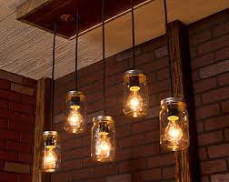 mason jar chandelier with reclaimed wood and 5 pendants r 1434 cmj 5 chandeliers and pendant lighting