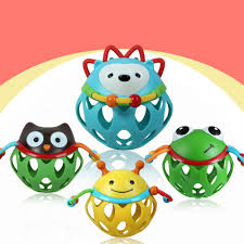 New Baby <b>Teether</b> Ball Soft Rubber Hollow Rattle <b>Cartoon</b> Animal ...