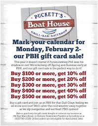 puckett s boat house offers major discounts on gift card day pbh gift card flyer 1 800x1024