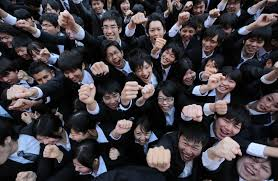 % of new grads land jobs the times vocational school students hold a rally to kick off the job hunting season in tokyo