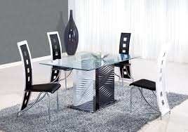 Black And White Kitchen Table Modern Rectangular Solid Glass Dining Table With Black Chairs And