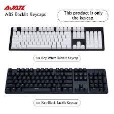 Ajazz ABS Top Printed 87 Key/104 Key Black White Two <b>Color</b> ...