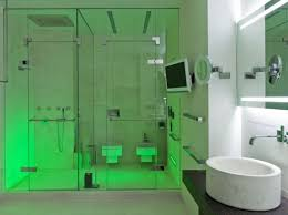 no just a futuristic and stylish bathroom with an original lighting system the decoration is minimalist so the lights can literally shine bathroom shower lighting ideas