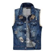 VXO 2019 <b>Denim Vest Men's Jacket</b> Sleeveless Casual Waistcoat ...