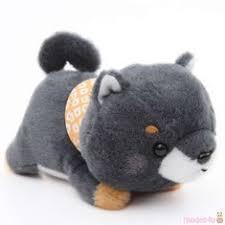 kawaii dark grey dog orange scarf <b>Mameshiba</b> San Kyodai <b>plush toy</b> ...