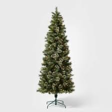 7.5ft Pre-lit Artificial <b>Christmas Tree Slim</b> Virginia Pine With Clear ...