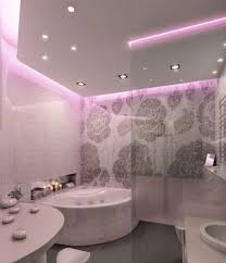 bathroom ceiling globes design ideas light:  small ceiling lights in white shade bathroom lighting design and freestanding bathtub and floral wallpaper