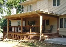 covered patio freedom properties: high back chair design plus iron and wooden railing combo idea feat simple covered deck picture