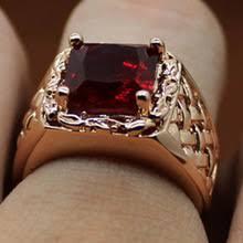 Красный камень кристалл Винтаж для мужчин/женщин <b>Золотое</b> ...