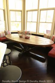 7ft dining table: custom butcher block strip oval wood dining table from reclaimed wood by rdandco on etsy https