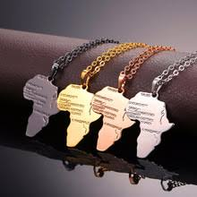 Africa Map Gold Color Stainless Steel Pendant Necklace for Men ...
