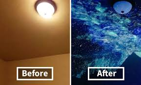 artist creates epic night sky ceiling mural to help boy sleep galaxy room painting crispin young wilson 20 jpg