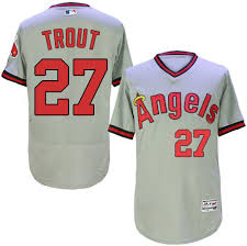Majestic Authentic Mike Trout <b>Men's</b> Grey MLB <b>Jersey</b> - #27 <b>Los</b> ...