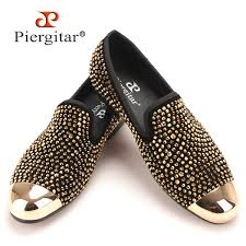 New Gold Toe And Gold <b>Crystal Handmade Men Loafers</b> Men ...