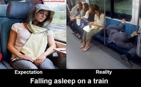 Falling asleep on a train - Expectation vs reality | Funny Dirty ... via Relatably.com
