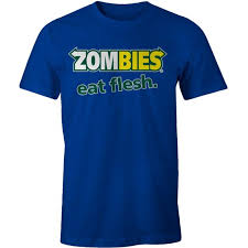 <b>ZOMBIES EAT FLESH T</b>-shirt Funny Subway parody Walking Dead M