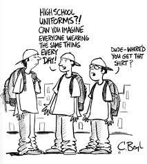 cartoon teaching writing and the ojays on pinterest cartoon satirizing the complaint that school uniforms promote conformity