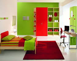 colorful kids bedroom design ideas in red and green shades with wooden bed with headboard and bedroom kids bedroom cool bedroom designs
