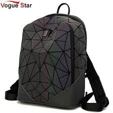 <b>Fashion Women backpack</b> PVC geometric luminous <b>backpack 2019</b> ...