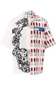 <b>Prada</b> Хлопковая <b>блуза</b> с укороченным рукавом и принтом