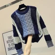 Neploe Hairy Fur <b>Patchwork</b> Women Sweater <b>Solid</b> Knitted Female ...