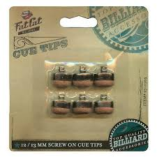6 Screw-on <b>Fat</b> Cat Pool Cue Tips <b>12mm</b> and 13mm in Hang-sell Clam