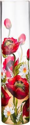 <b>Ваза Lefard</b> Красные Маки, 135-5192, прозрачный, высота 50 см ...