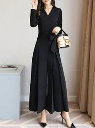 Folds <b>Elegant</b> Solid Long Sleeve Surplice <b>Neck Jumpsuit</b> ...