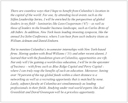 columbia business school essays analysis   ivy mba consultingessay   cbs matters  a key element of the school    s culture  allows the people in your cluster to learn more about you on a personal level