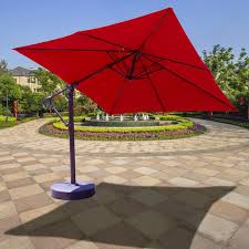 patio ft cantilever umbrella: galtech  ft aluminum square cantilever patio umbrella with easy lift and easy tilt shown in jockey red