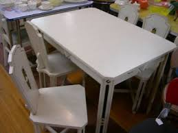 vintage sellers white wood dinette set table chairs vtg art deco ebay art deco dining arm