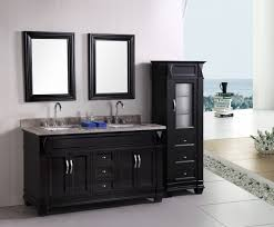 fetching black bathroom vanity plus twin sinks feat arch faucets under wall mirrors for open bathroom schemes completed by stand cabinet captivating bathroom vanity twin sink enlightened