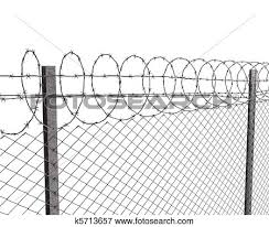 Stock Illustration  Chainlink Fence With Barbed Wire On Top  Fotosearch Search EPS Clipart