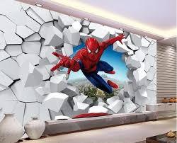 Custom <b>3D</b> photo wallpaper <b>stereoscopic</b> Spiderman White Bricks in ...