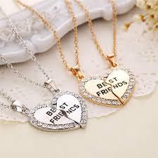 <b>1 Pair Women</b> Men Best Friend Heart Silver 2 Pendants <b>Necklace</b> ...