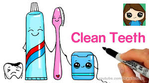 How to Draw a <b>Cute</b> Tooth Brush, Tooth Paste and Floss Easy ...