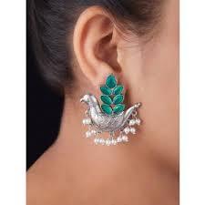 Buy Silver <b>Toned</b> Green Brass Bird Earrings online at Theloom