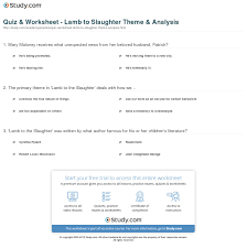 quiz worksheet lamb to the slaughter theme analysis com print lamb to the slaughter theme analysis worksheet