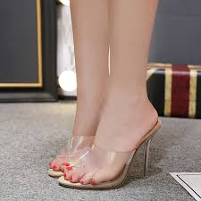 <b>Hot Sale Women</b> Pumps Crystal Sandals <b>Peep</b> Toe PVC Clear ...