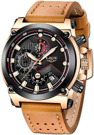 LIGE <b>Men's Fashion</b> Sport Quartz Watch with Brown Leather Strap ...