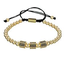 Fashion <b>Copper</b> Beads <b>Micro Pave</b> CZ Cube Macrame Bracelet