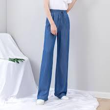 Summer <b>Women Jeans Elastic</b> Waist Lace Up Thin Wide Leg Jeans ...