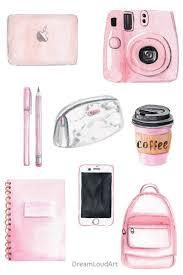 <b>Watercolor</b> school <b>girl</b> clipart - <b>pink</b> girly accessories - back to school ...